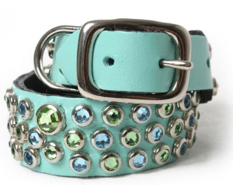 aqua-and-peridot-mixed-crystals-on-aqua-leather-dog-collar