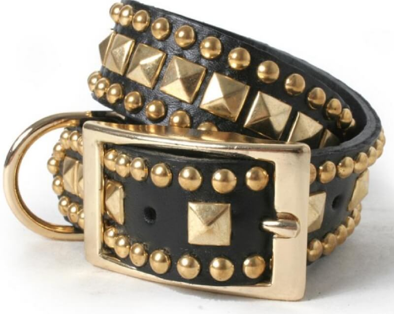 gold-pyramid-with-studs-on-black-leather-dog-collar
