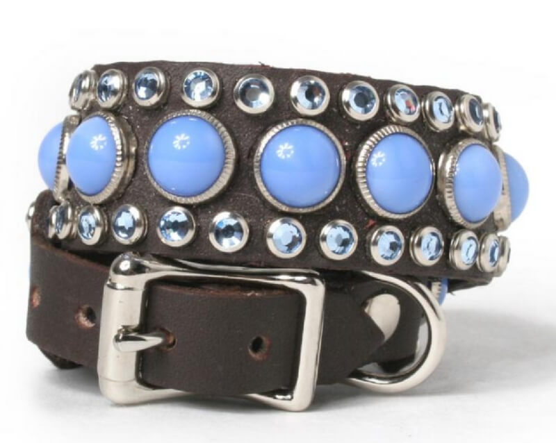 light-blue-cabs-and-crystals-on-chocolate-leather-dog-collar