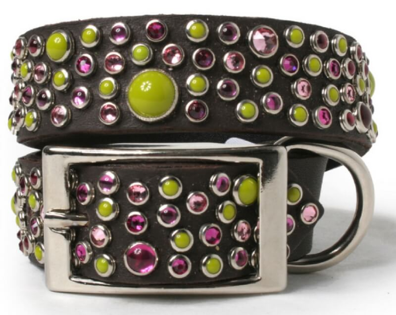 pink-and-green-cabs-and-pink-crystals-on-chocolate-leather-dog-collar