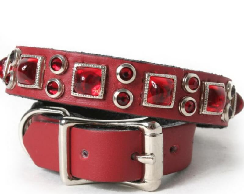 red-pyramid-and-crystals-on-red-leather-dog-collar