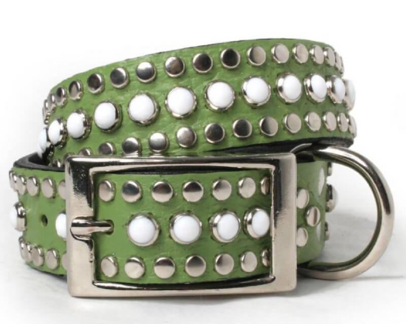 white-cabs-and-silver-studs-on-green-leather-dog-collar